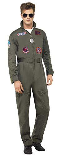 Smiffys Herren Top Gun Deluxe Kostüm, Overall und Sonnenbrille, Top Gun, Größe: M, 26855