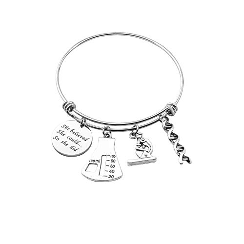 ENSIANTH Biology Chemistry Bracelet Gift for Science Graduation Microscope Charms Bangle (Science Bracelet)