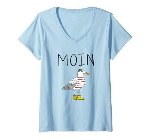 Damen Moin Löppt Spruch Möwe Meer Lustig Geschenk Norden Digga See T-Shirt mit V-Ausschnitt