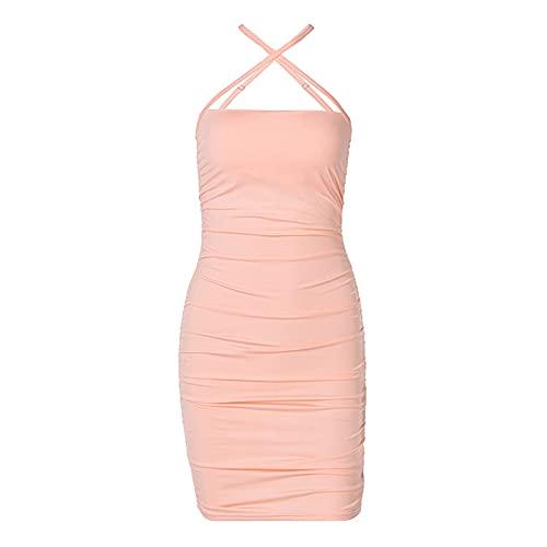 Lalaluka Kleider Damen Bodycon Kleid kurzSexy Einfarbig Spaghetti Aushöhlen Kurz Kleider Cocktailkleider TailliertesKleid Wickelkleid