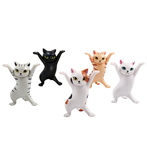 ZJHOSELL 5pcs Cat Figurines for Office Desk Accessories, Dancing Cat Decorations for Home and...