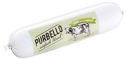 PURBELLO Hundewurst Rind - 8 x 400 g - Monoprotein Hundefutter mit hohem Fleischanteil - Nassfutter für Hunde - Schnittfest & Getreidefrei (3,2 gk)