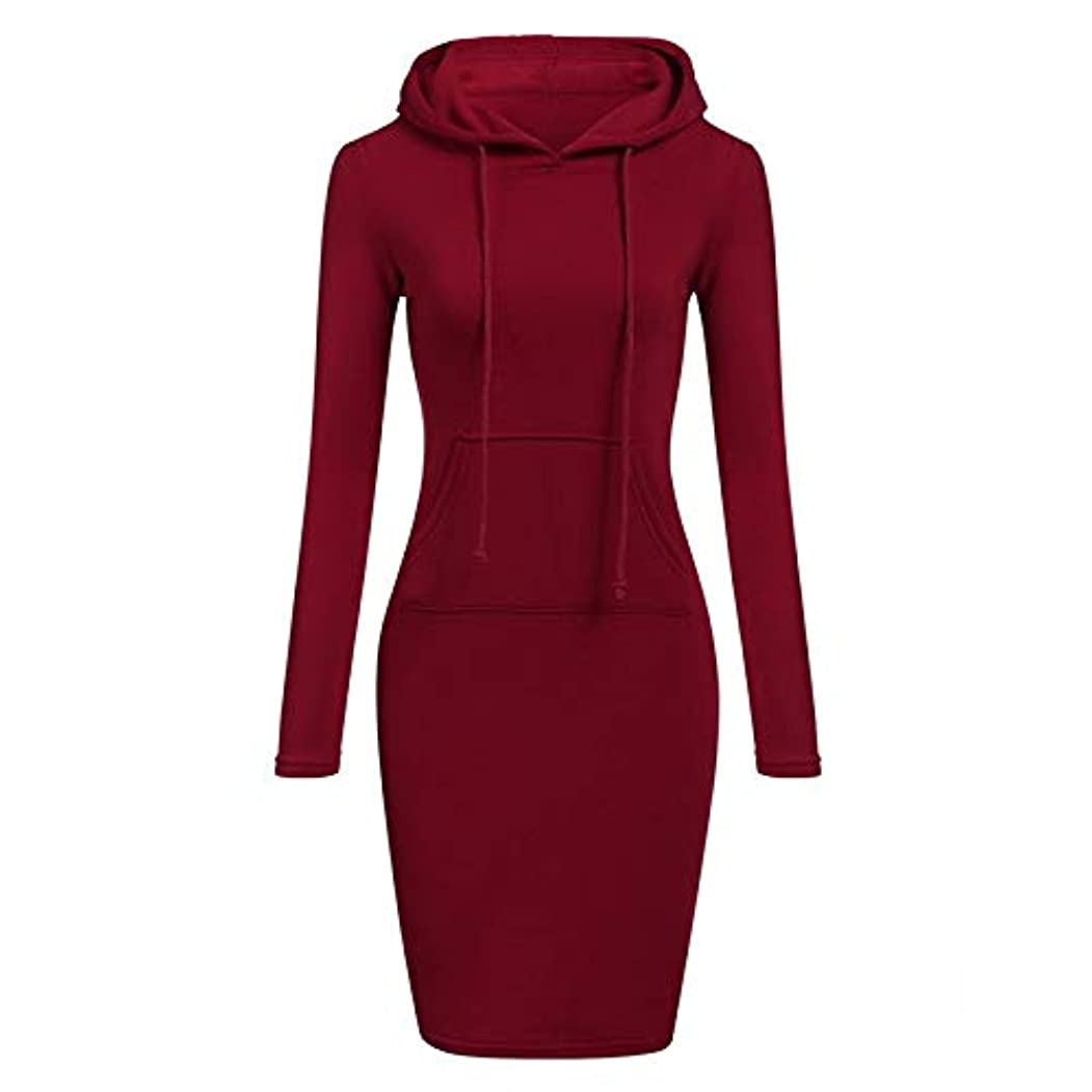 確立します興奮不満Maxcrestas - ファッションフード付き巾着フリースの女性のドレス秋冬はドレス女性Vestidosパーカースウェットシャツドレスを温めます