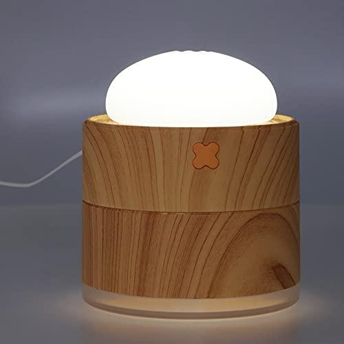 Nawilżacz USB Cool Mist, Nawilżacz 3 w 1 z Dyfuzorem i Lampką Nocną, 400 Ml Nawilżacz Powietrza w Kształcie Bułki na Parze 2 Biegi Regulowany Nawilżacz Biurkowy(Ziarno drewna)
