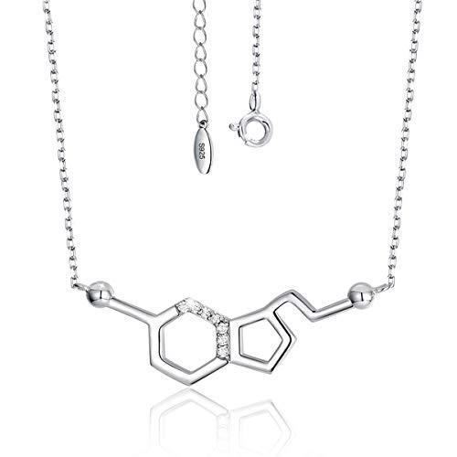 SIMPLOVE Glück Serotonin Molekül Halskette 925 Sterling Silber Neurotransmitter Chemie Wissenschaft Molekül Anhänger Halskette für Lehrer, Professor, Chemie-Absolventen, Wissenschaftsliebhaber