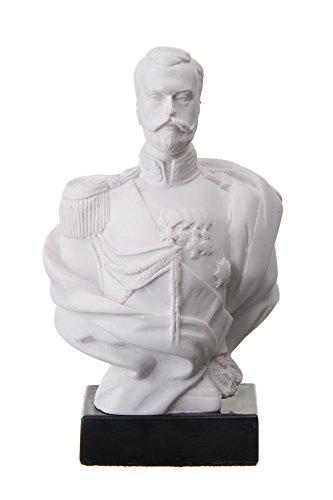 Marmorbüste des russisches Kaisers Nikolaus II./Nikolai II., Statue, Skulptur, 14cm, Weiß