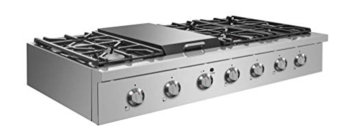 "NXR SCT4811 48"" Pro-Style Natural Gas Cooktop, Stainless Steel 5 6 German single-stack burner Featuring high power 18, 000 BTU burners for larger cookware. Simmer delicate sauces with low power 6, 000 BTU and everything in between 3 x heavy-duty flat cast-iron cooking grates to ease movement of large pots without having to lift them"