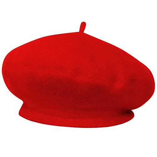 Trixes TRIXES Französische Baskenmütze in modischem Pink klassishe Rot Künstlermütze