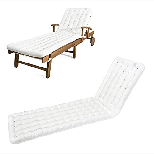 HAVE A SEAT Luxury - Liegenauflage, Auflage Gartenliege (Weiß) 200 x 60 cm, 8 cm dick, waschbar bei 95°C, Trockner geeignet, Bequeme Polsterauflage für Sonnenliege, Liegestuhl, Relaxliege