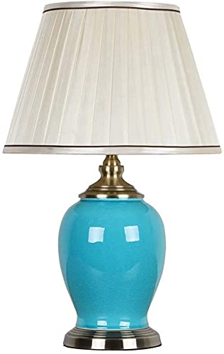 Rnwen Lámpara de Mesa de cerámica de grieta de Hielo Azul Moderna lámpara de cabecera de Dormitorio Simple Sala de Estar hogar 33x55 cm