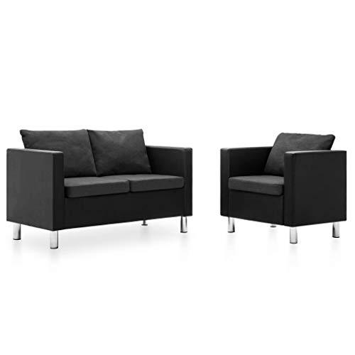 vidaXL Sofa 2-TLG. Kunstleder Sessel Lounge Ledersofa Sofagarnitur Polstersofa