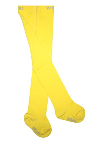 Weri Spezials Leotardos para bebé y niños, lisos, de algodón, color amarillo
