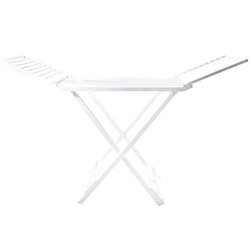 Mediawave Store - Tendedero de resina con alas plegables con ruedas y articulaciones de seguridad, tendedero de 20 m de largo para tender las toallas, color blanco, tendedero de balcón 750660