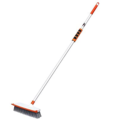 MATCC Floor Scrub Brush Shower Scrubber Brush with Adjustable Long Handle Stiff Bristle Deck Cleaning Long Brush Push Broom for Cleaning Tile Tub Bathroom Kitchen Grout Patio Rough Surface Wall Pool
