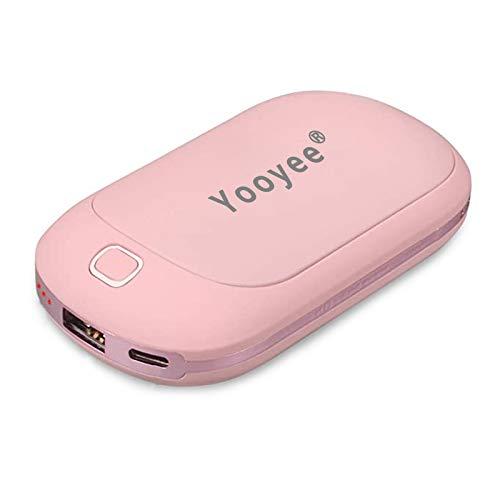 YOOYEE USB Scaldamani Powerbank 5200mAh Elettrico Scaldamani Tascabile Ricaricabile Scaldamani Riutilizzabile Portatile Scaldamani Rosa Carino Riscaldamento a Doppio Lato Regalo di Natale Rosa