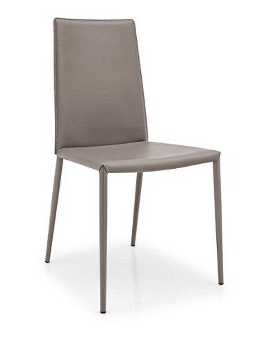 Calligaris 2 Stühle, Boheme, hohe Rückenlehne, Lederfaserstoff, Taubengrau