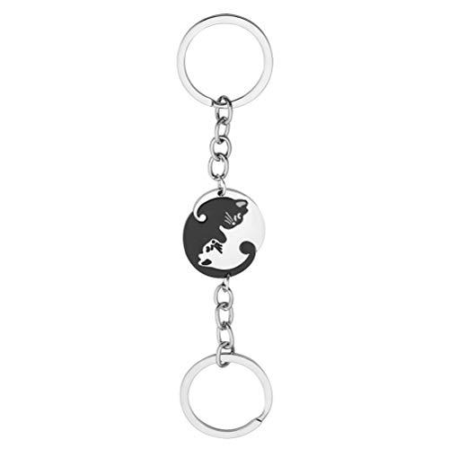 Macabolo 1 Para Acero Inoxidable Yin Yang Puzzle creativo gato pareja colgante llavero para amante regalo Negro 14 cm