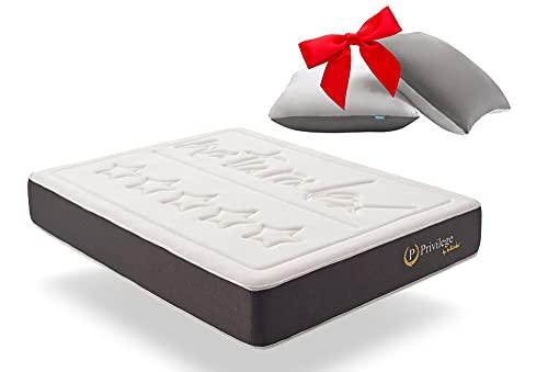 Naturalex   Privilege   Materasso Memory Matrimoniale 150x190 cm + Cuscini Gratis   Gamma Hotel Ultra Comfort   Spessore 25 cm   7 Zone con Ultima Tecnologia Antiaffossamento   Auto Ventilante