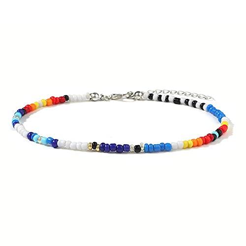 HETHYAN Flor Daidy Bead Anklet Pulsera para Mujer Bohemio Colorido Hecho a Mano Elástico Strech Tobillo Regalo (Metal Color : Style E)
