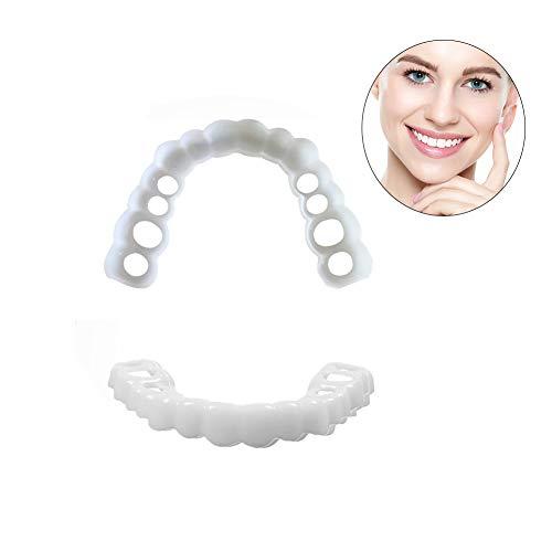 Provisorischer Zahnersatz, 1 Paar kosmetische Zahnmedizin Snap auf Instant perfekte Lächeln Comfort Fit Flex Zähne Veneers Zähne kosmetische Aufkleber mit Zahnbürste,Eine Grösse passt allen
