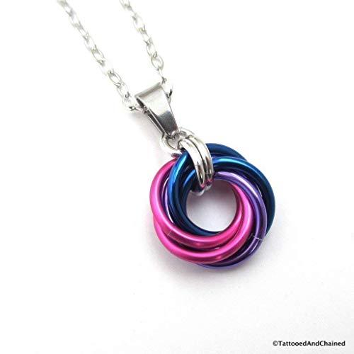 Bi pride pendant, chainmail love knot, bisexual pride jewelry