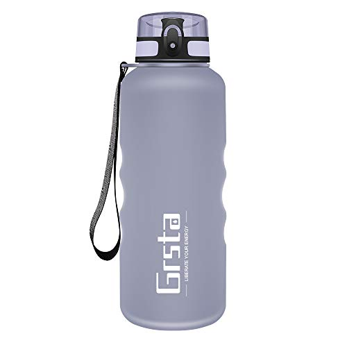 Grsta Sports Water Bottle, 350ml/500ml/800ml/1L/1.5 L Drink Bottles with Time Marker & Filter One Click Flip Lid BPA Free Tritan Plastic Eco-Friendly Sports Water Cup for Kids, Gym, Hiking, Bicycle