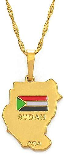 NONGYEYH co.,ltd Collar Collar Collares Pendientes Originales de Sudán Color Dorado Mapa de Sudán Joyería Un Mapa