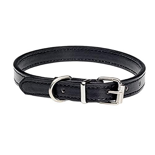 ZZCR Collar De Perro Mascota Collar De Cuero Suave Hebilla De Pasador Collar Ajustable Poroso Collar De Perro Anti-Perdido Negro M
