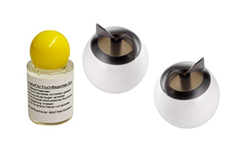 2er Set Fruchtfliegenfalle Obstfliegenfalle falle für Obst- und Fruchtfliegen inkl. Lockstoff 25ml weiß kompakt unaufällig