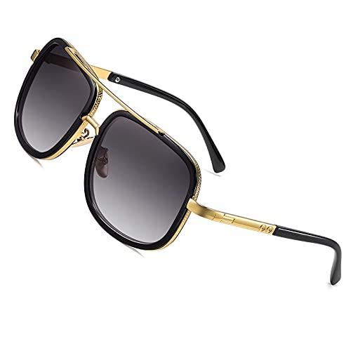 SHEEN KELLY Gafas de sol Grand Pilot Gafas de sol cuadradas retro Gafas de espejo para mujer para hombre Gafas de Metal Oro UV400 Steampunk Half Frame Gradient Glass