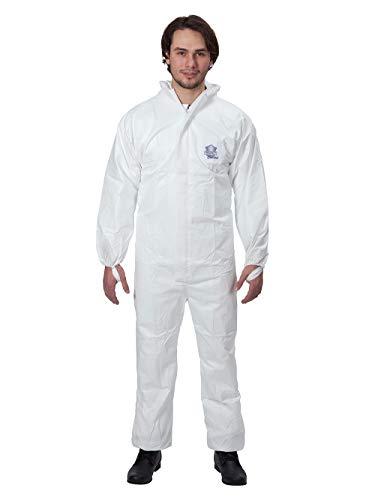 Protec Classic Overall Chemikalienschutzkleidung Schutzanzug EN14126 Kategorie 3 Typ 5/6 weiß XXL
