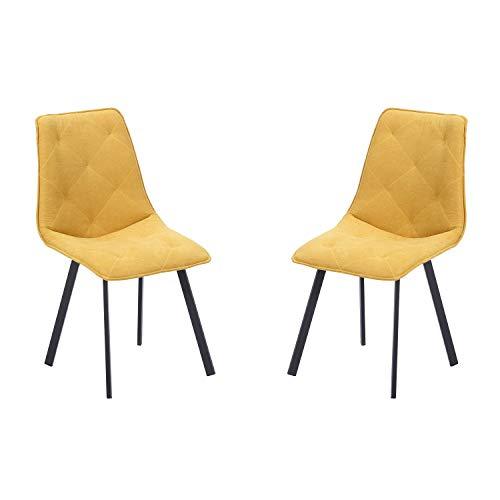 Diamond, Pack 2 sillas de Comedor, Salón o Cocina, Acabado en Tejido Color Mostaza, Medidas: 45 cm (Ancho) x 63 cm (Fondo) x 87 cm (Alto)