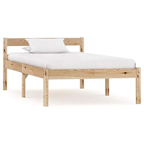 vidaXL Solid Pine Wood Bed Frame Modern Contemporary Charm Decorative Stable & Durable Single Bed Accessory Bedroom Furniture 90x200cm