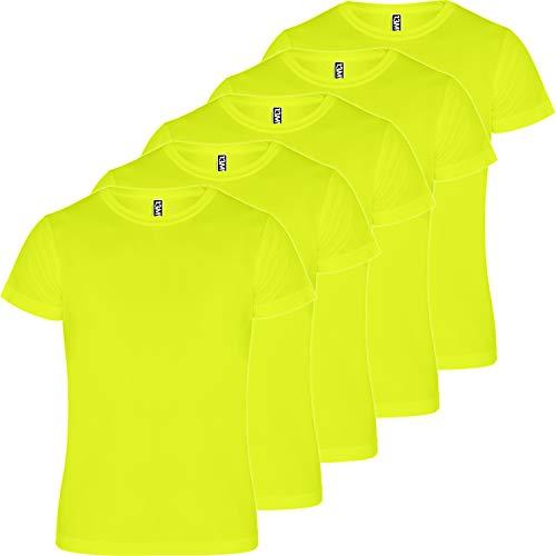 13MW Camiseta técnica Hombre | Pack 5 | Tejido técnico para Deporte | Transpirable | Running, Fitness, Fútbol, Padel (Amarillo Flúor, XXXL)