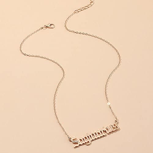 YLHJM Doce Estrella Collar Damas Doce Letras zodiaces Colgantes artesanías de Oro Aries Collar de Oro-6