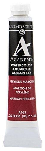 Grumbacher Academy Watercolor Paint, 7.5ml/0.25 Ounce, Perylene Maroon (A163)