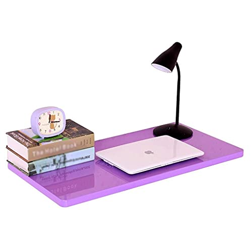 Fold Up Table, Wall Mounted Wood Desk, Stable Sturdy Construction, Folding Wall Table, Easy to Install 30cm×120cm Wall Desks for Small Spaces (Color : Purple, Size : 30cm×120cm)
