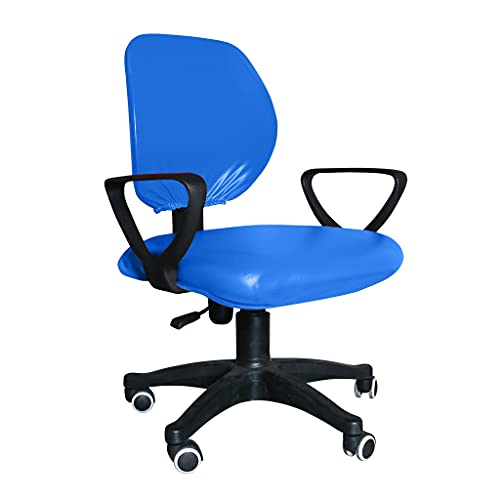 BAIDEFENG Computer Stuhlbezug Schonbezug Split Stuhlbezug Office Leder PU Sitz Wasserdichter Split Stretch Spandex Sitzbezug,Blau