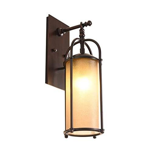 Aplique de pared clásico aplique Lámpara de pared, apliques de hierro forjado retro al aire libre, faros de espejo Lámpara de dormitorio Luces de pared de sala de estar Aplique de pared de bajo consum
