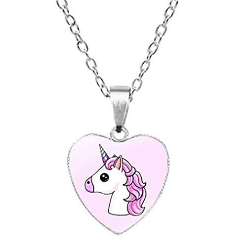 yichahu Collar de unicornio con colgante de cadena de corazón, diseño de unicornio, diseño de dibujos animados, arco iris, caballo, pony, gargantilla, collares y colgantes para la infancia (7)