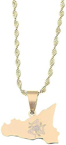 Aluyouqi Co.,ltd Collar Collar de Acero Inoxidable Mapa de Sicilia Collares Pendientes Color Dorado Cadena de Sicilia Italiana Regalos