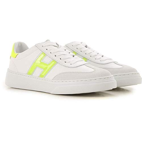 Hogan H365 HXW3650BJ50KX901AJ Sneakers Sportive Ginnastica Leer Wit Neongeel Shoes Casual Schoenen Nove Comode Luidspreker