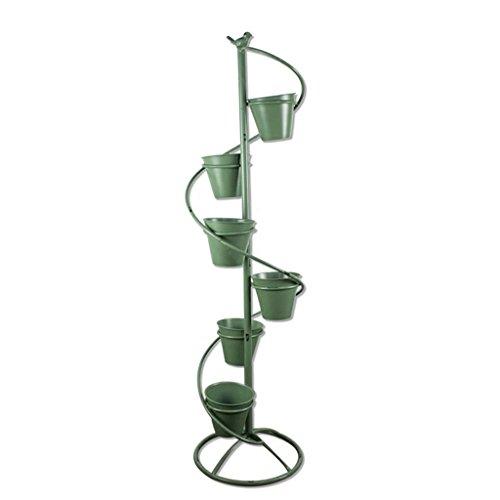 Byrhgood Soporte de Flores Retro de múltiples Capas de Hierro Forjado Americano, Escalera de Caracol de pie Maceta Estante Florería Decoración de balcón, Alto 113cm (Color : Green)