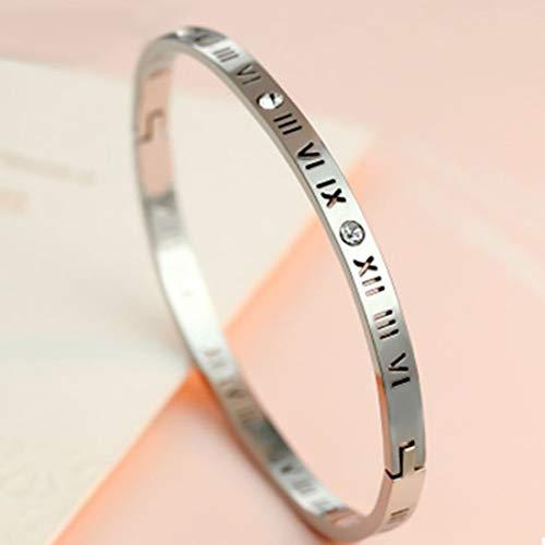 NMYANXU QUELLIA Unisex Romeinse cijfers Carving Crystal ingelegd titanium stalen armband, Grootte: 6.2 * 5.8 * 1 cm (Gold)