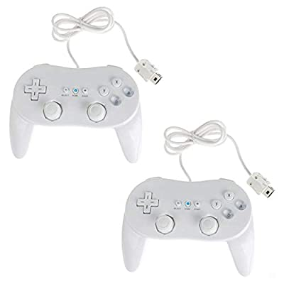 Assecure 2 x White Classic Pro Controller For Nintendo Wii Remote Wireless jo.