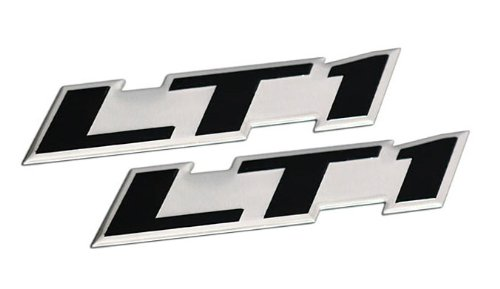ERPART LT1 Embossed Black on Silver Real Aluminum Auto Emblem Badge Nameplate Compatible with Chevy Corvette Buick Camaro Pontiac Trans AM Caprice SS Impala Cadillac Pontiac Firebird Z28 (Pack of 2)