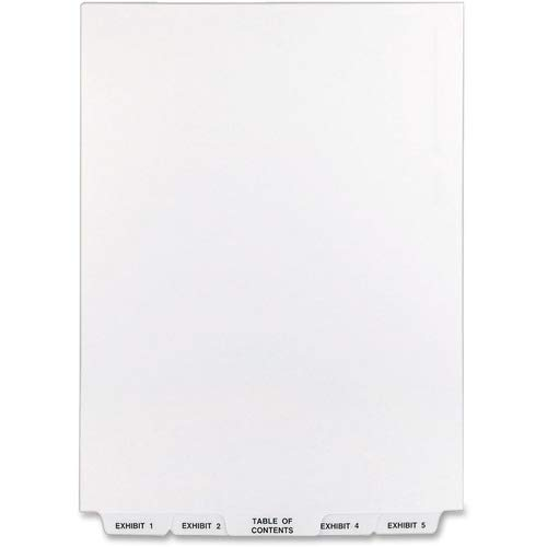 Avery Legal Exhibit Dividers; Bottom Tab; 1-25; 11' x8-1/2; White