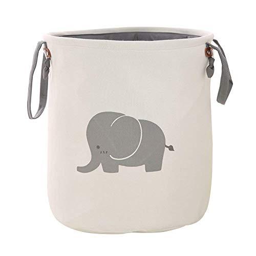 Foldable groß Wäschekorb Kinder Spielzeug Organizer Aufbewahrung mit Tragegriffen, DUBENS Wasserdichter Wäschesack Wäschebox Wäschesammler Baumwolle Leinen Schrankkorb Aufbewahrung (Elefant)