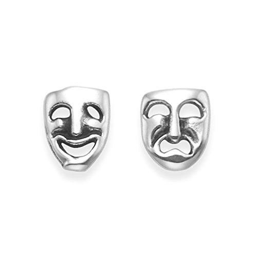 Silber Komödie und Tragödie Ohrstecker Ohrringe . Theater -Masken - Größe: 6 mm x 5 mm . Geschenkbox