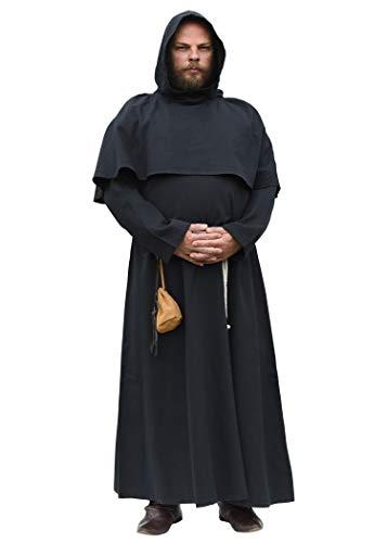 Battle-Merchant Mönchskutte mit Kapuze und Kordel in schwarz oder braun - Mittelalter LARP Kostüm Mönch (Schwarz, XXL)